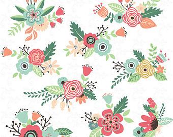 Floral clipart vintage flower Wedding Birthday Clipart Flowers art