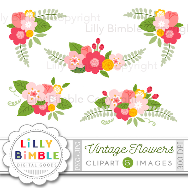 Floral clipart vintage flower Cliparts Clipart Illustrations Clipart Flowers