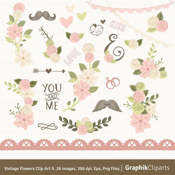 Floral clipart vintage flower Bouquet Invitation Pink II