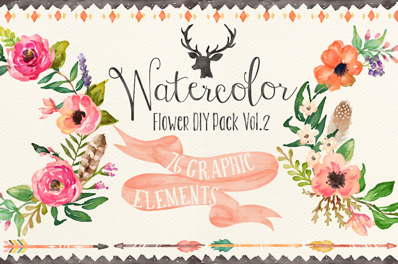 Water Color clipart flowery #3