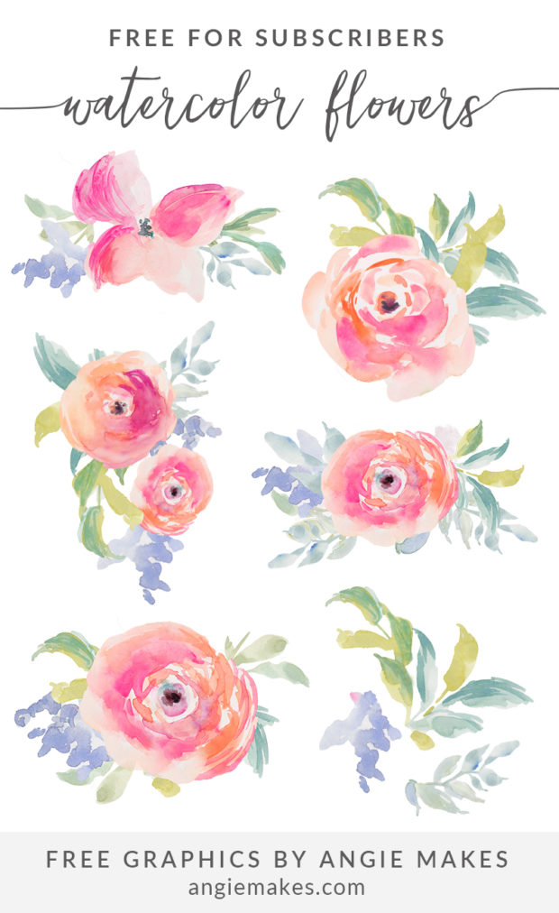 Pink Flower clipart spring tea Watercolor Girly Angie Makes For