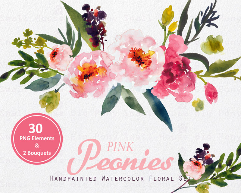 Peony clipart vintage Flower Clipart Digital  Clip