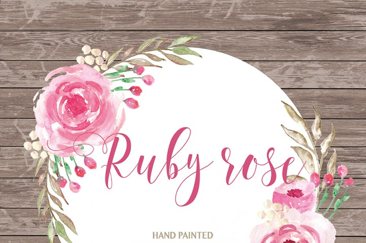 Floral clipart wedding Clipart watercolor  flower Ruby