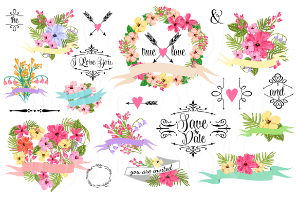 Wedding clipart modern Illustrations creative floral Clip Art