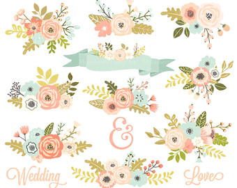 Floral clipart wedding Gold FLORAL Clipart Wedding and