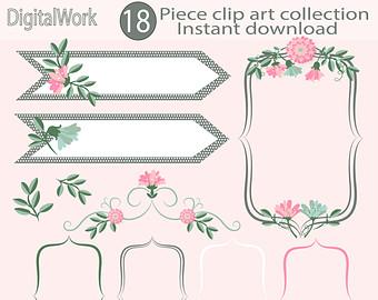 Floral clipart wedding Frame floral digital border digital
