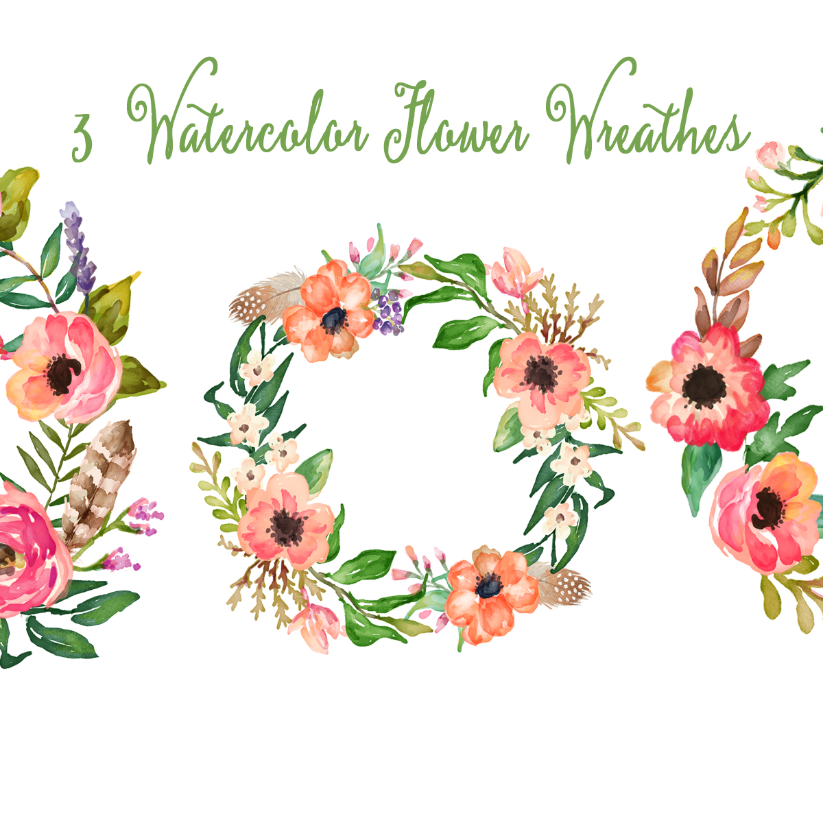 Wedding clipart hand Painted pink floral hand Hand