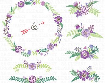 Vintage Flower clipart purple Pack Download pack Wreath Wedding