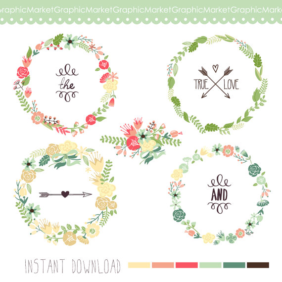 Wreath clipart digital Wreaths Flowers Arrows Succulents Floral