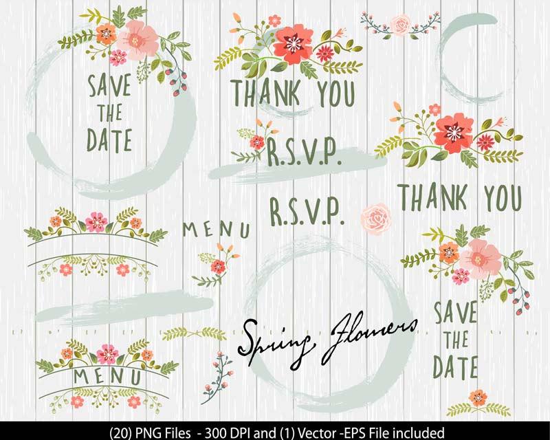 Rustic clipart wedding floral Wedding Date Flower Wedding Etsy