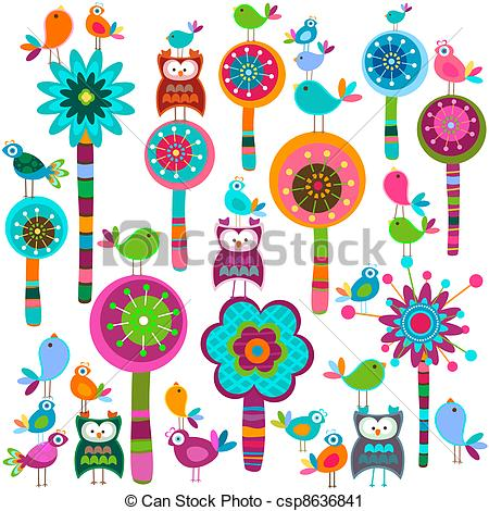Floral clipart whimsical Forest flowers Clip forest of