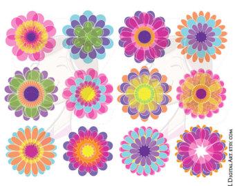 Floral clipart whimsical Instant Clip Craft Digital Frames