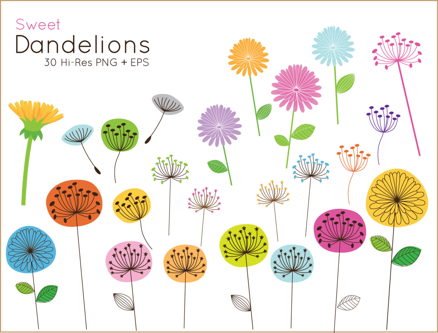 Floral clipart whimsical Clipart cute and OFF use