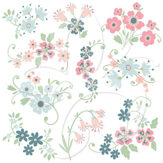 Floral clipart whimsical Clusters Personal Commercial about Flowers