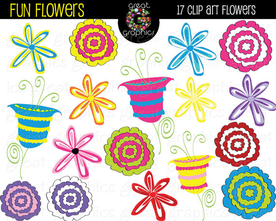 Floral clipart whimsical Whimsical Flowers Clip Printable Flowers