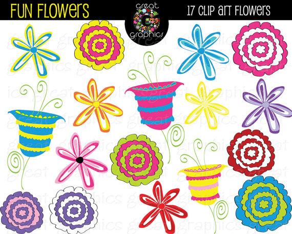 Floral clipart whimsical Art Whimsical Flower Digital Clipart