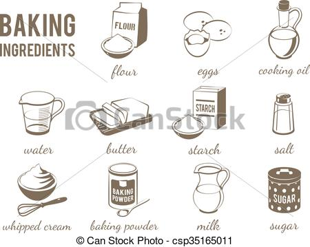 Flour clipart ingredient Baking icons: icons: Set flour