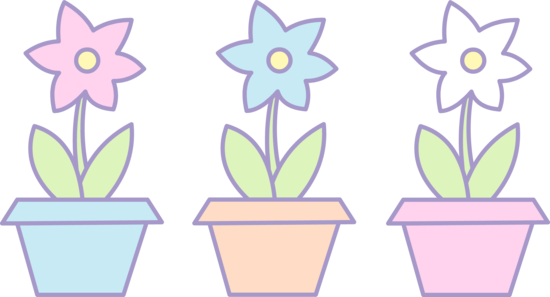 Blue Flower clipart three flower Cute Pots Art Flowers Flower