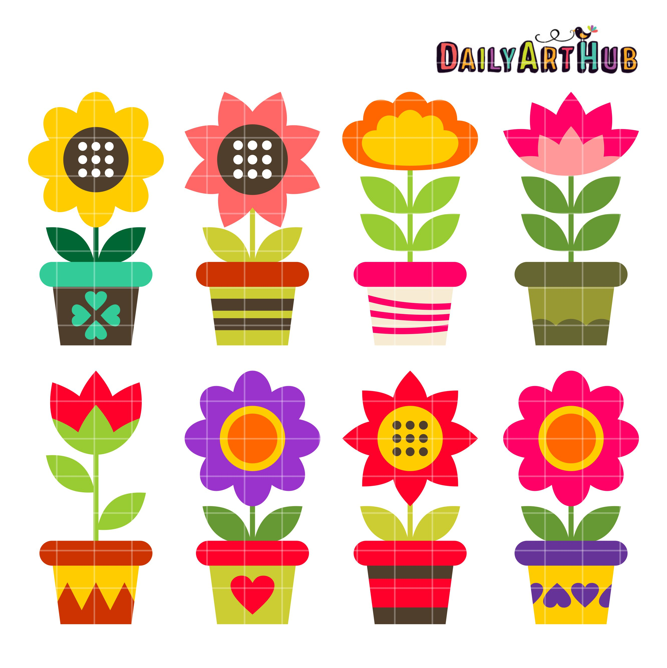 Flowerpots clipart Pots Art Flower Colorful Colorful