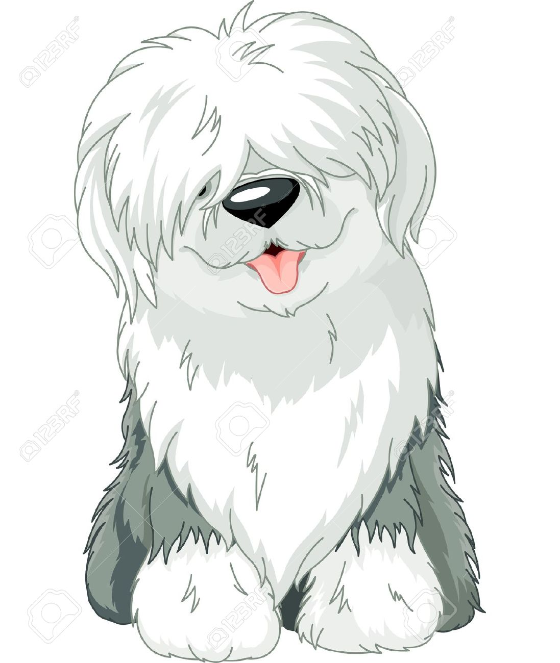 Old English Sheepdog clipart cartoon Divertido n Sheep la s
