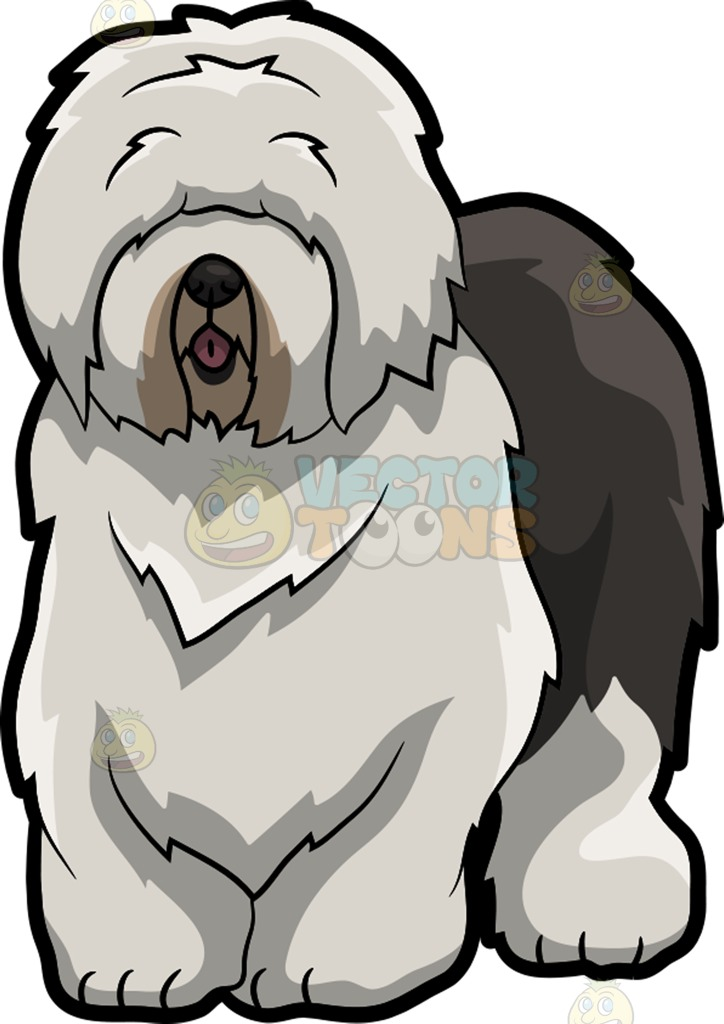 Old English Sheepdog clipart cartoon Long Old With Sheepdog Long