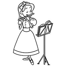 Flute clipart coloring Coloring Printables Flute Pinterest Girl
