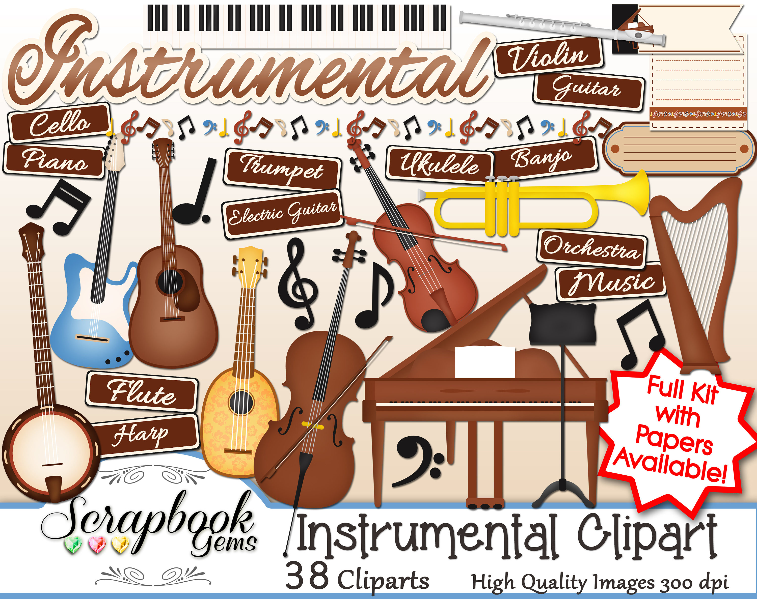 Flute clipart instrumental music Png digital files  Instant