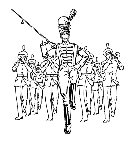 Flute clipart marching band Band coloring Pages Coloring Kids
