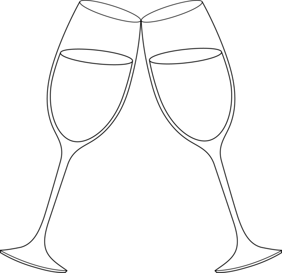 Champagne clipart cheers Outline 550x531 30KB best about