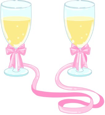 Alcohol clipart wedding wine glass Clip Clip Pink Glasses Champagne