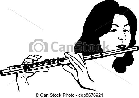 Flute clipart sketch Plays the flute musical