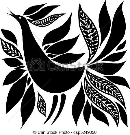 Folk clipart bird Bird Vector black ornament Vector