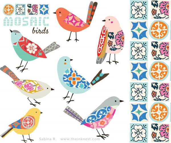 Folk clipart bird Bird Mosaic Folk Folk Clip