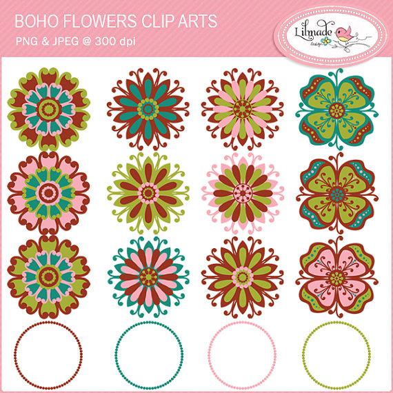 Pendent clipart boho bird Clip art floral art flowers