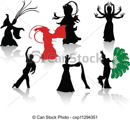 Folk clipart chinese dance Dancers silhouette EPS of of