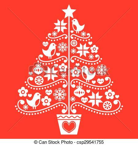 Folk clipart christmas Retro folk Clipart tree style