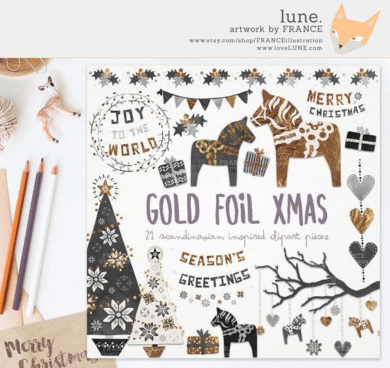 Folk clipart christmas Holly Tree Folk FRANCEillustration Horse