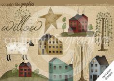 Folk clipart country Weeping Art Primitive Willow &