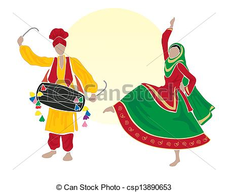 Folk clipart cultural dance Bhangra illustration male Vector and