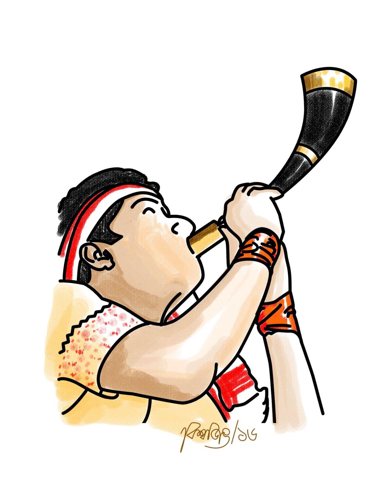 Folk clipart dhol Piper Assam: horn and Clipart/