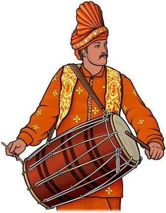 Folk clipart dhol Indian ] drum Indian