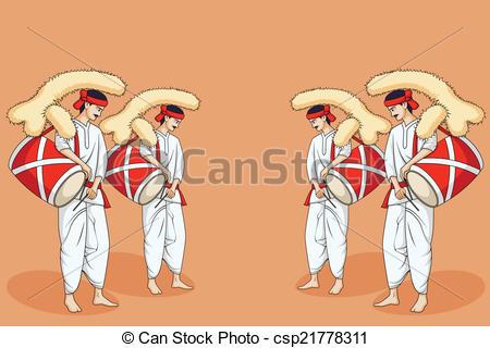 Folk clipart dhol  Vector People csp21778311 Art