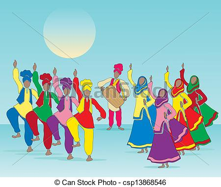Folk clipart drawing Vector dance an a punjabi