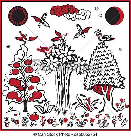 Folk clipart folklore Russian Russian EPS folk image