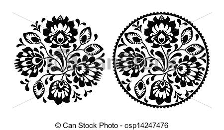 Folk clipart paper flower Embroidery Vectors Decorative flowers with