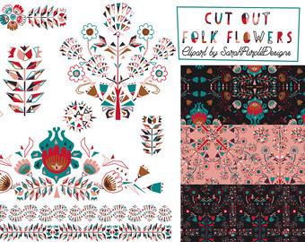 Folk clipart paper flower Etsy Scrapbook Paper flower Folk