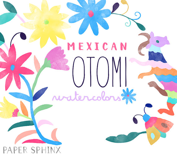 Folk clipart paper flower Instant Mexican Colorful Animals Folk