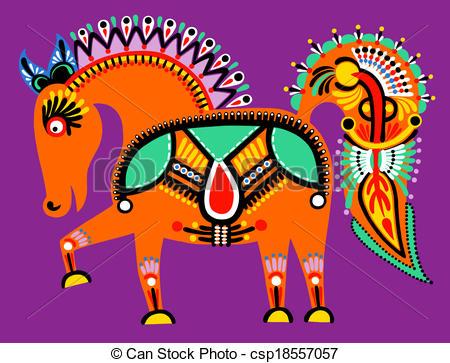 Folk clipart ukrainian Folk horse ethnic painting painting
