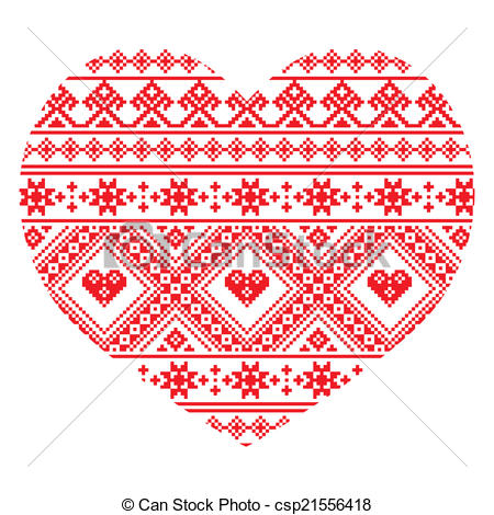 Folk clipart ukrainian Art pattern heart  Vector