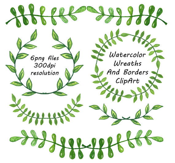 Folk clipart vine wreath Laurel clipart Watercolor Wreaths Watercolor